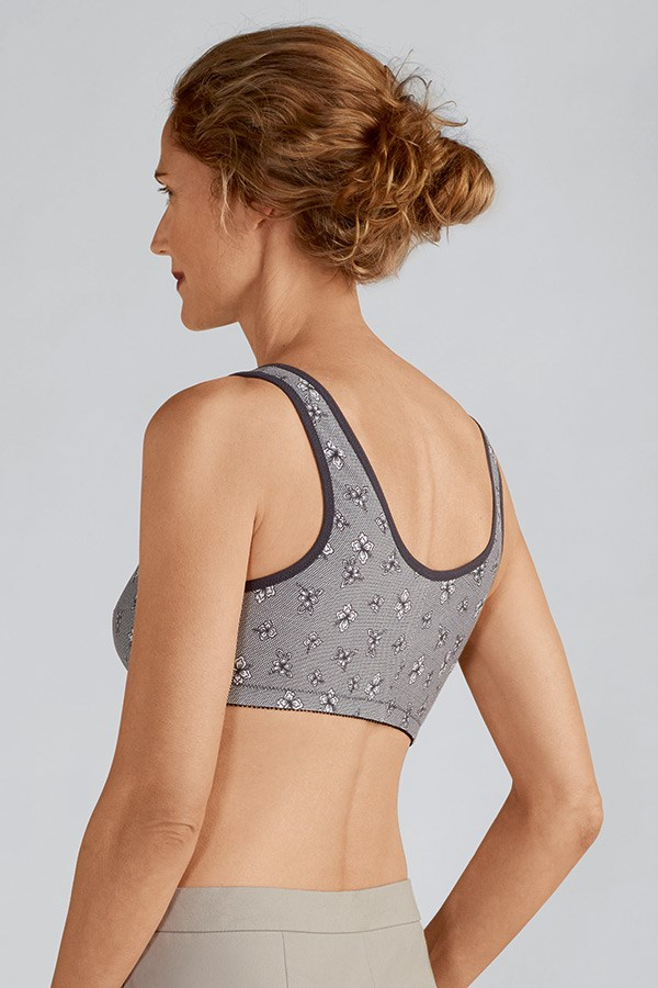 Frances Non-Wired Front Closure Bra / Grey Lace / Back View